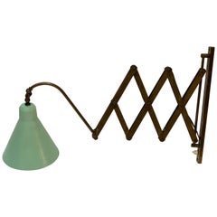 Midcentury Italian Adjustable and Extensible Brass Wall Light