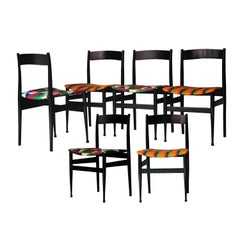 Midcentury Italian African Black Lacquered Kitenge Multi-Color Chairs Italy 1950