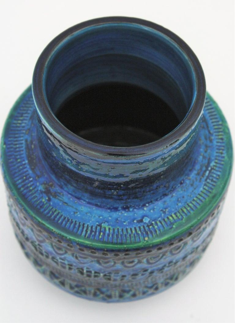 Midcentury Italian Aldo Londi for Bitossi Rimini Blue Glazed Ceramic Vase For Sale 4