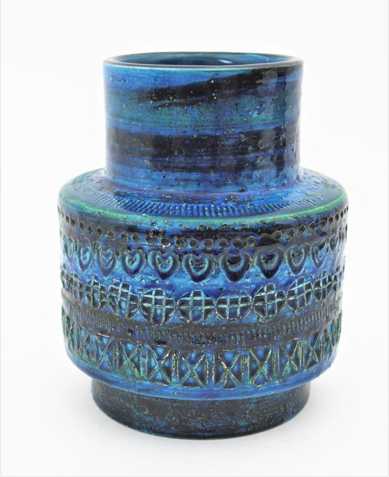 Pottery Midcentury Italian Aldo Londi for Bitossi Rimini Blue Glazed Ceramic Vase For Sale
