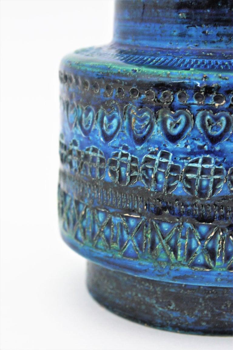 Midcentury Italian Aldo Londi for Bitossi Rimini Blue Glazed Ceramic Vase For Sale 1