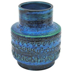 Midcentury Italian Aldo Londi for Bitossi Rimini Blue Glazed Ceramic Vase