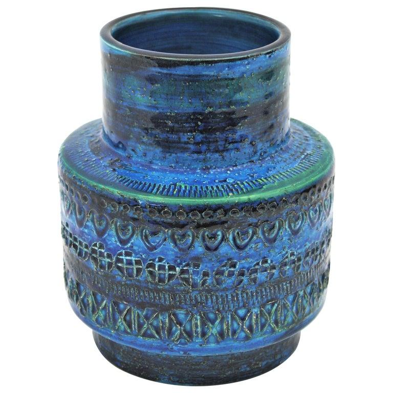 Midcentury Italian Aldo Londi for Bitossi Rimini Blue Glazed Ceramic Vase For Sale