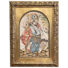 """Midcentury Italian """"Alexander the Great"""" Tapestry in Carved Gilt Frame"""