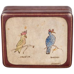 Midcentury Italian All Leather Box with Bird Portraits, circa 1960