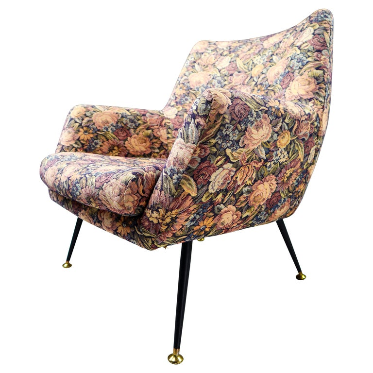 Midcentury Italian Armchair in Original Wool Flower Fabric, 1950s For Sale
