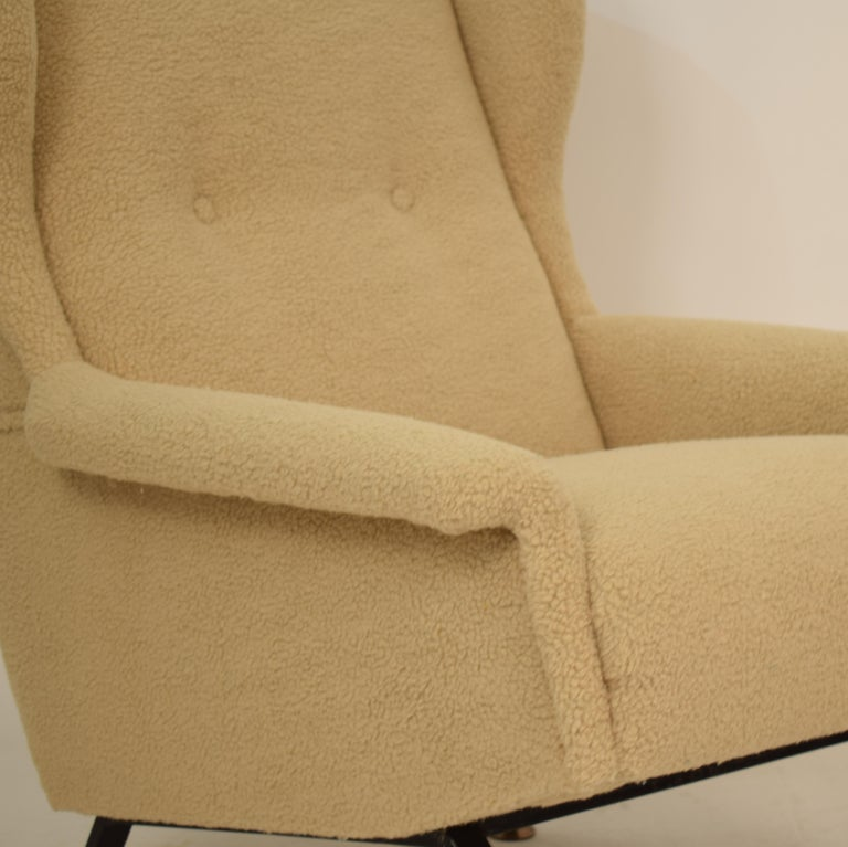 Mid-20th Century Midcentury Italian Armchair Lounge Chair in Beige Sandy Sheep Wool Fabric, 1950