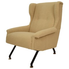 Midcentury Italian Armchair Lounge Chair in Beige Sandy Sheep Wool Fabric, 1950