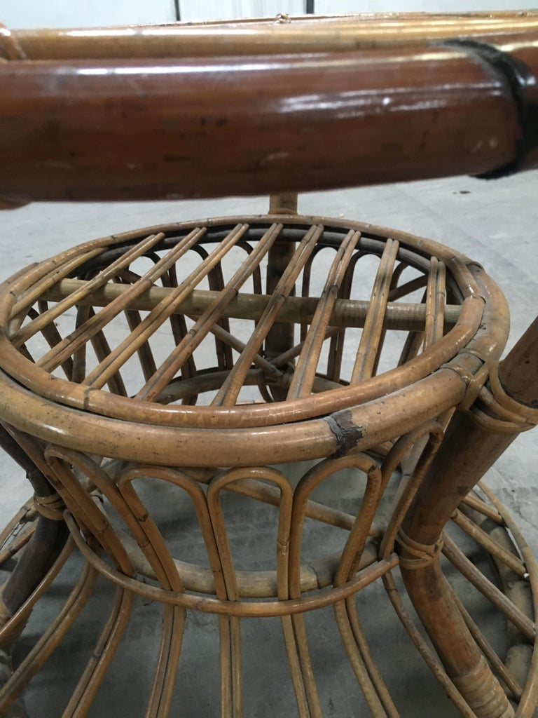 Midcentury Italian Bamboo and Rattan Living Room Set from 1950s 9