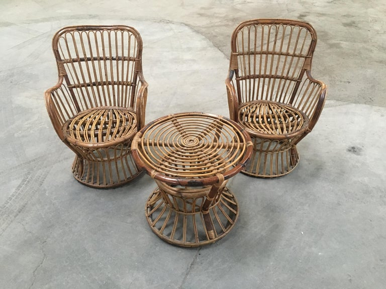 Mid-Century Modern Midcentury Italian Bamboo and Rattan Living Room Set from 1950s For Sale