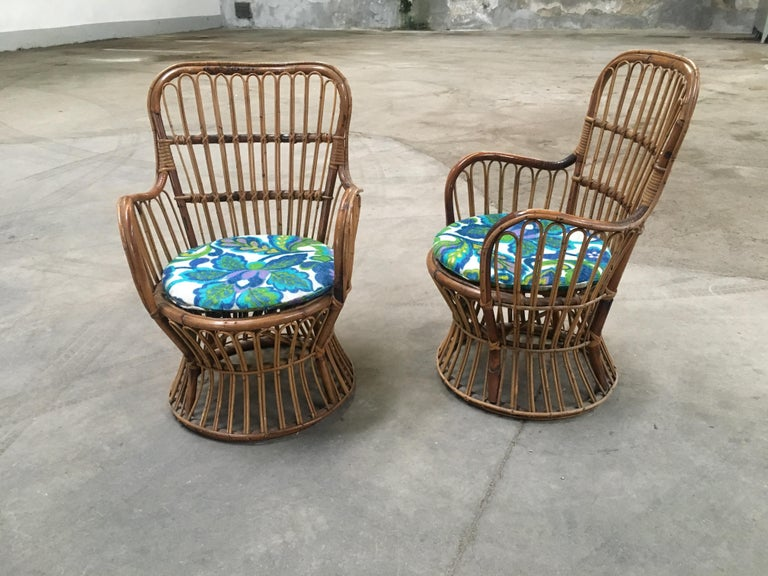 Midcentury Italian Bamboo and Rattan Living Room Set from 1950s In Excellent Condition In Prato, IT