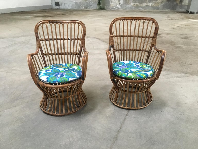 Mid-20th Century Midcentury Italian Bamboo and Rattan Living Room Set from 1950s