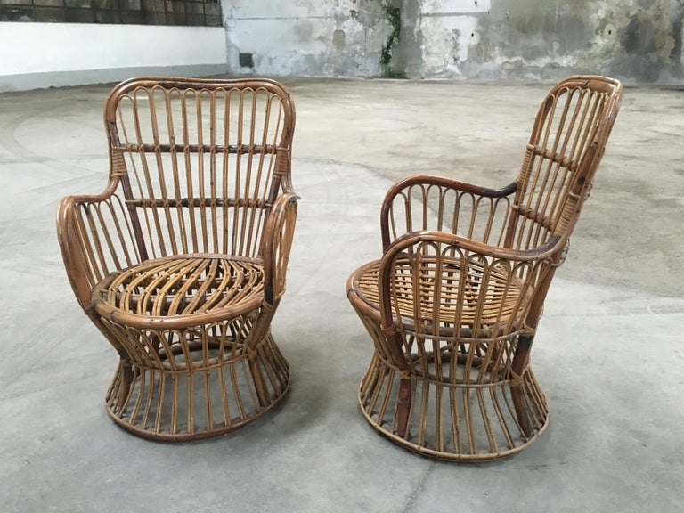 Midcentury Italian Bamboo and Rattan Living Room Set from 1950s For Sale 1