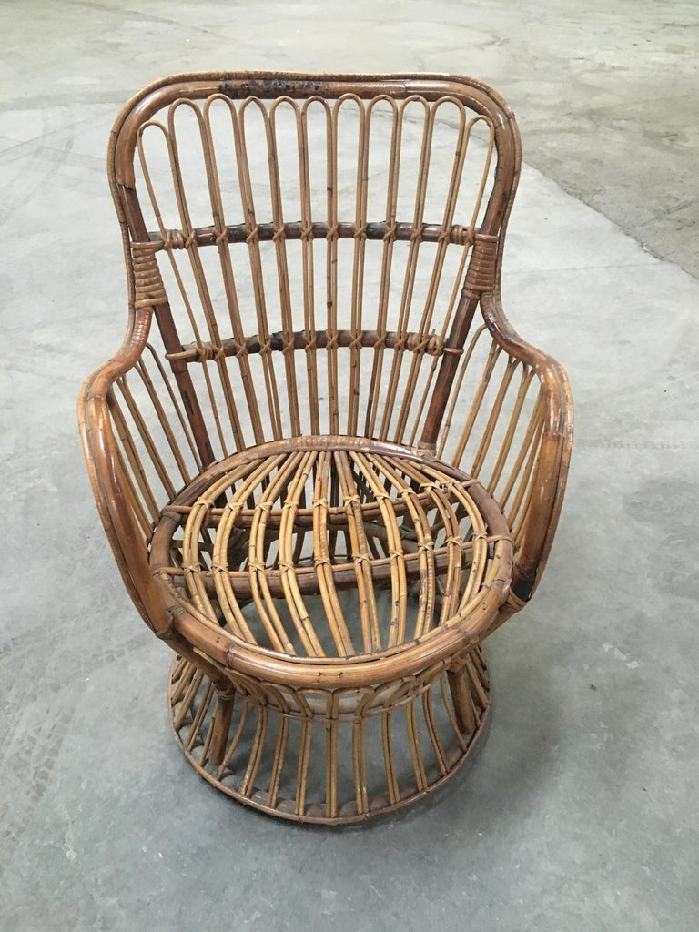 Midcentury Italian Bamboo and Rattan Living Room Set from 1950s For Sale 2