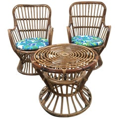 Midcentury Italian Bamboo and Rattan Living Room Set from 1950s
