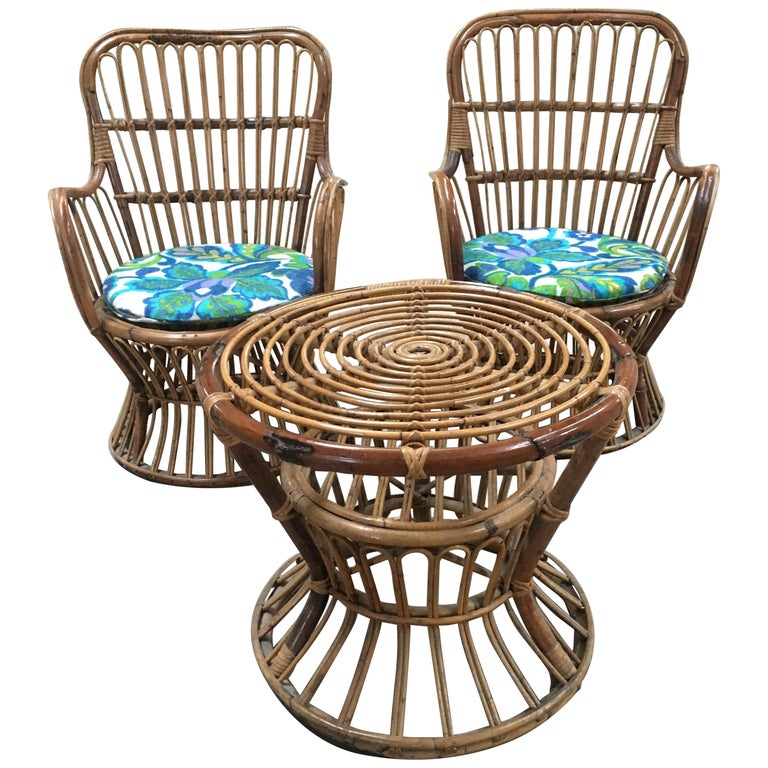 Midcentury Italian Bamboo and Rattan Living Room Set from 1950s For Sale