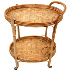 Midcentury Italian Bamboo and Rattan Oval Serving Side Bar Cart, 1960s