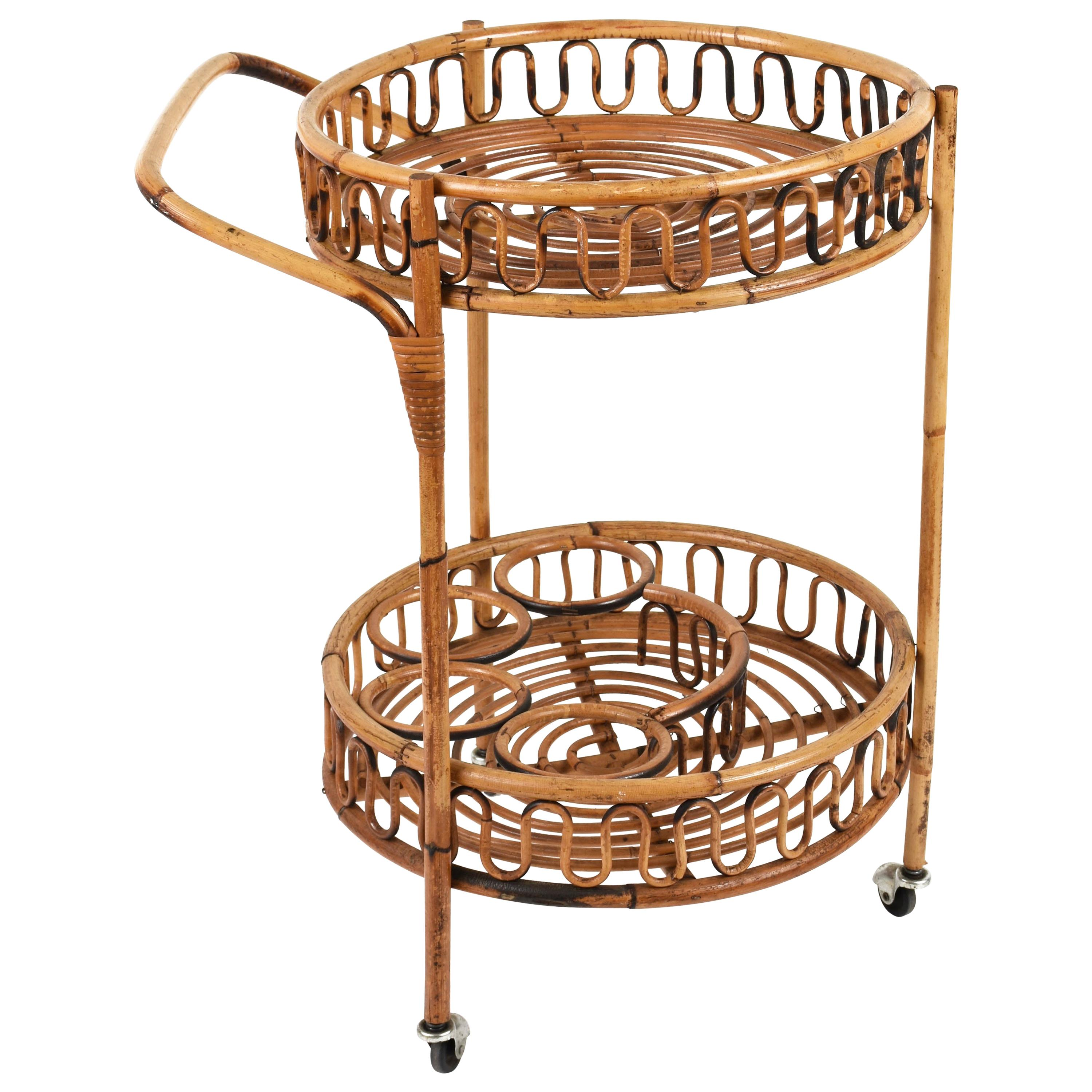 Midcentury Italian Bamboo and Rattan Round Serving Bar Cart Side Table, 1960s