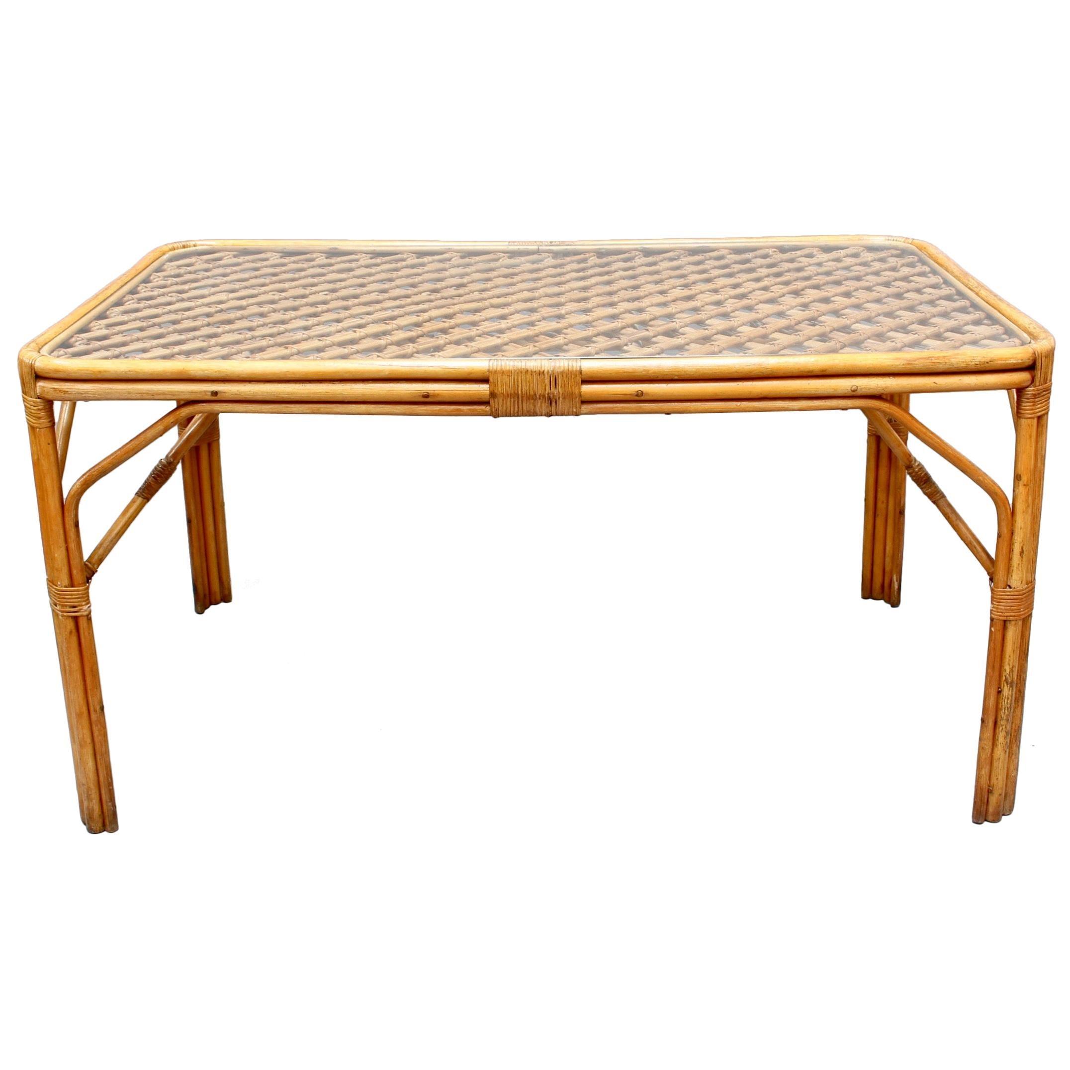Midcentury Italian Bamboo and Rattan Dining Table, 'circa 1960s'