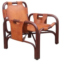Midcentury Italian Bamboo Armchair in Calf Leather Attributed Tito Agnoli