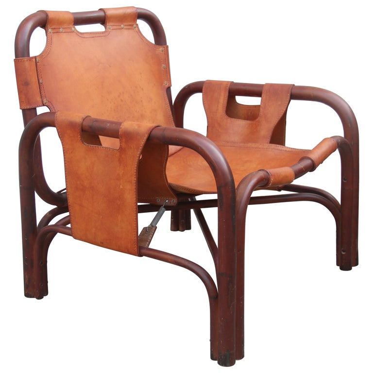 Midcentury Italian Bamboo Armchair in Calf Leather Attributed Tito Agnoli  For Sale