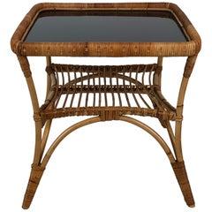 Midcentury Italian Bamboo Garden Combo of Coffee Table and Two Chairs, Bonacina