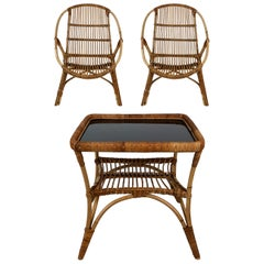 Midcentury Italian Bamboo Garden Combo of Coffee Table and Two Chairs