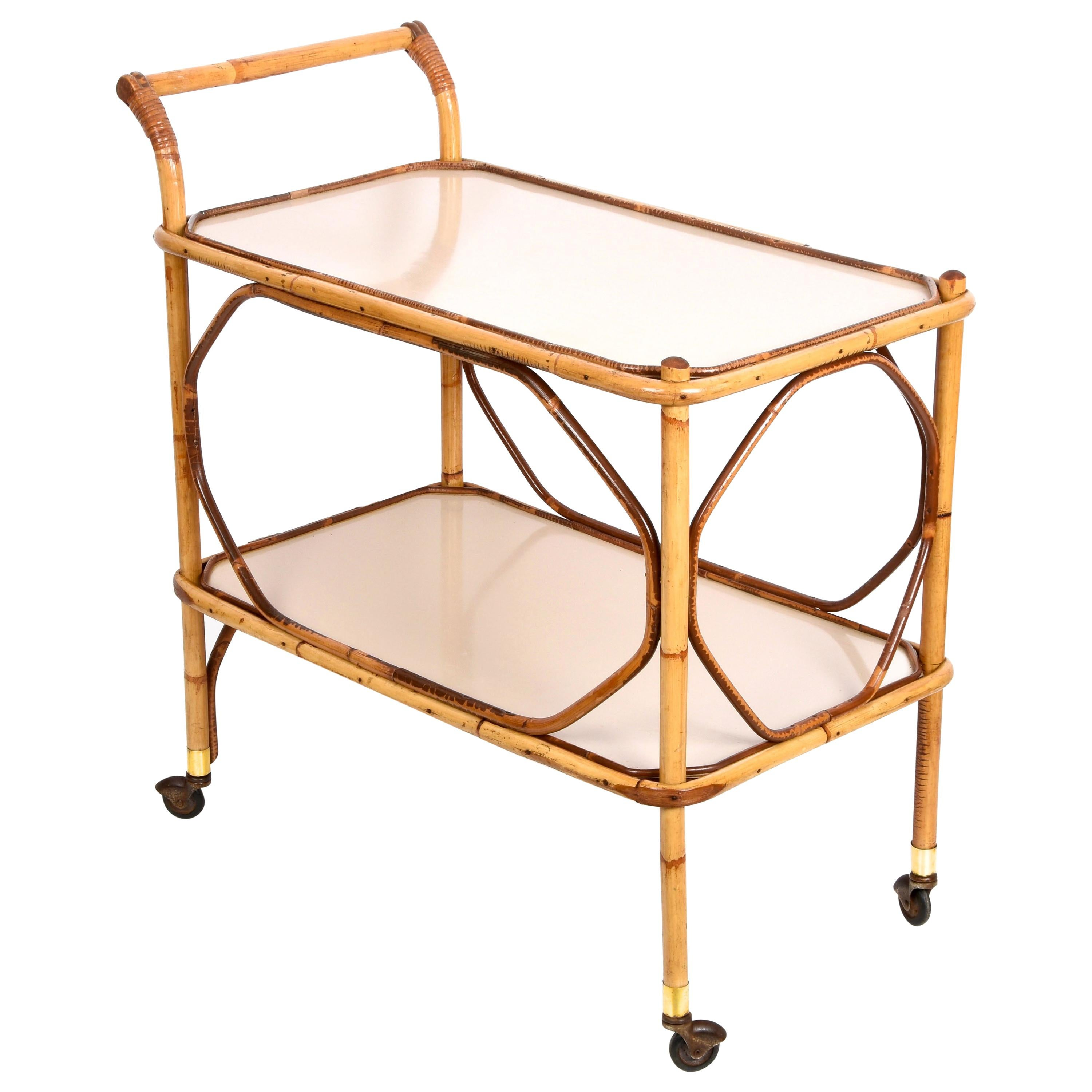 Midcentury Italian Bamboo, Rattan and Formica Bar Serving Cart, 1950s
