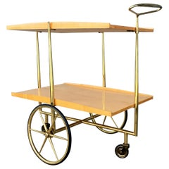 Midcentury Italian Bar Cart Cesare Lacca Style Trolley Lacquered Birch and Brass