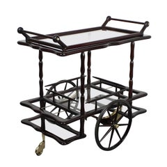 Italian Bar Trolley Attributed to Cesare Lacca, Wood and Glass, 1950s