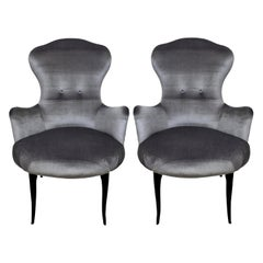 Midcentury Italian Bedroom Chairs in Grey Velvet
