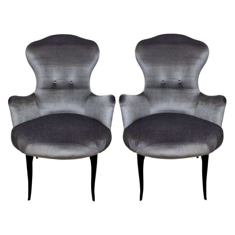 Midcentury Italian Bedroom Chairs in Grey Velvet