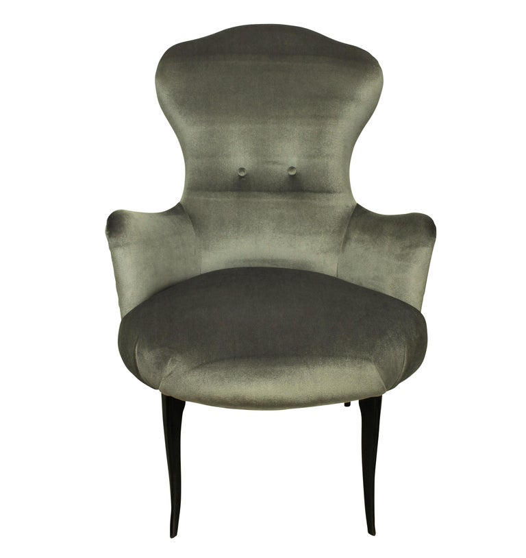 Mid-Century Modern Midcentury Italian Bedroom Chairs in Silver Velvet