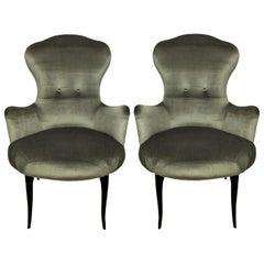 Midcentury Italian Bedroom Chairs in Silver Velvet