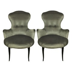 Midcentury Italian Bedroom Chairs in Silver Velvet