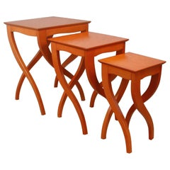 Midcentury Italian Birds Eye Cherrywood Nesting Tables, Set of Three