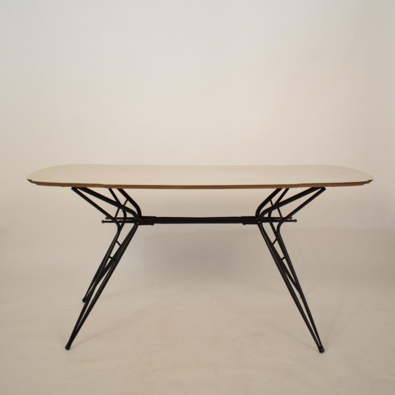 Mid-Century Modern Midcentury Italian Black and White Dining Table Attributed to Ico Parisi, 1958 For Sale