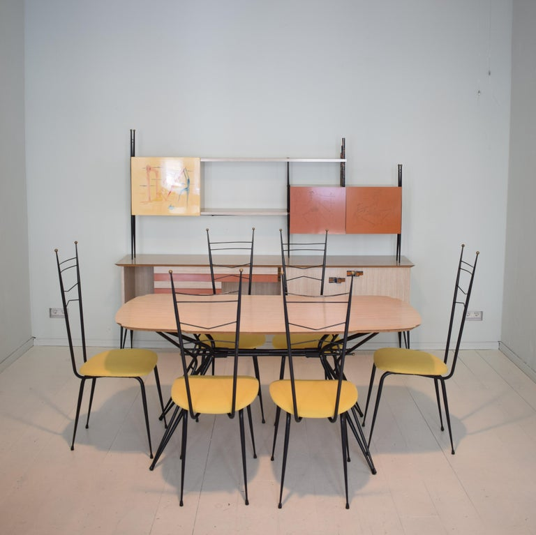 Lacquered Midcentury Italian Black and White Dining Table Attributed to Ico Parisi, 1958 For Sale