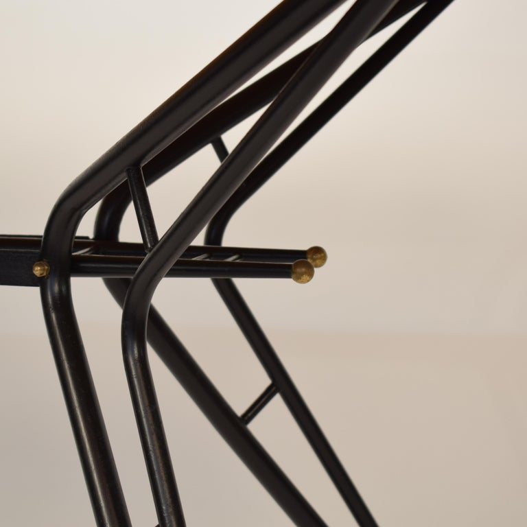 Metal Midcentury Italian Black and White Dining Table Attributed to Ico Parisi, 1958 For Sale