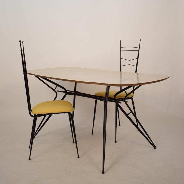 Midcentury Italian Black and White Dining Table Attributed to Ico Parisi, 1958 For Sale 2