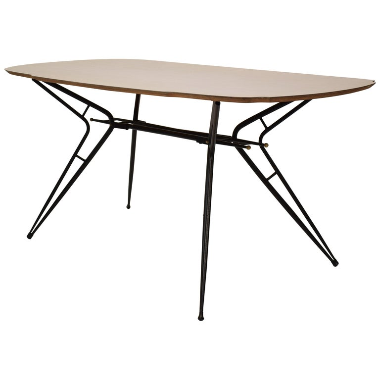 Midcentury Italian Black and White Dining Table Attributed to Ico Parisi, 1958 For Sale