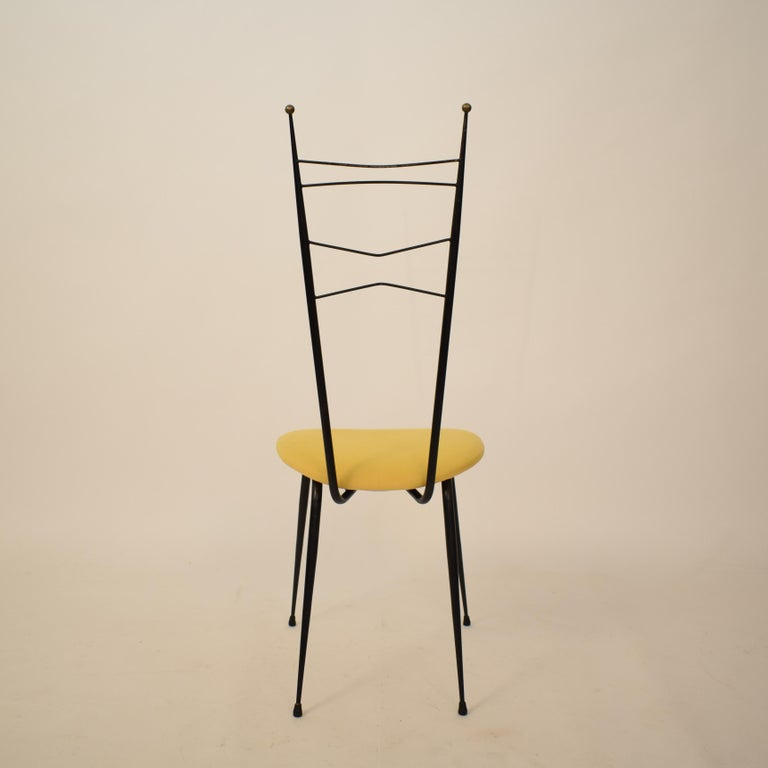 Midcentury Italian Black and Yellow Dining Chairs Attributed to Ico Parisi, 1958 For Sale 4