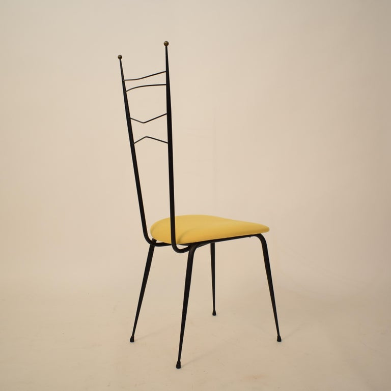 Midcentury Italian Black and Yellow Dining Chairs Attributed to Ico Parisi, 1958 For Sale 7