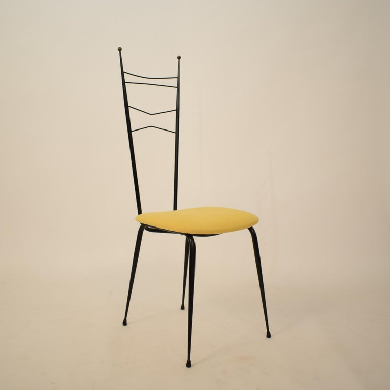 Midcentury Italian Black and Yellow Dining Chairs Attributed to Ico Parisi, 1958 For Sale 10