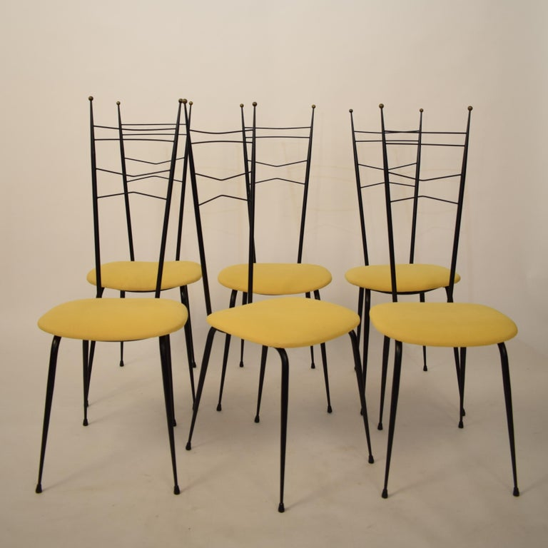 Mid-Century Modern Midcentury Italian Black and Yellow Dining Chairs Attributed to Ico Parisi, 1958 For Sale