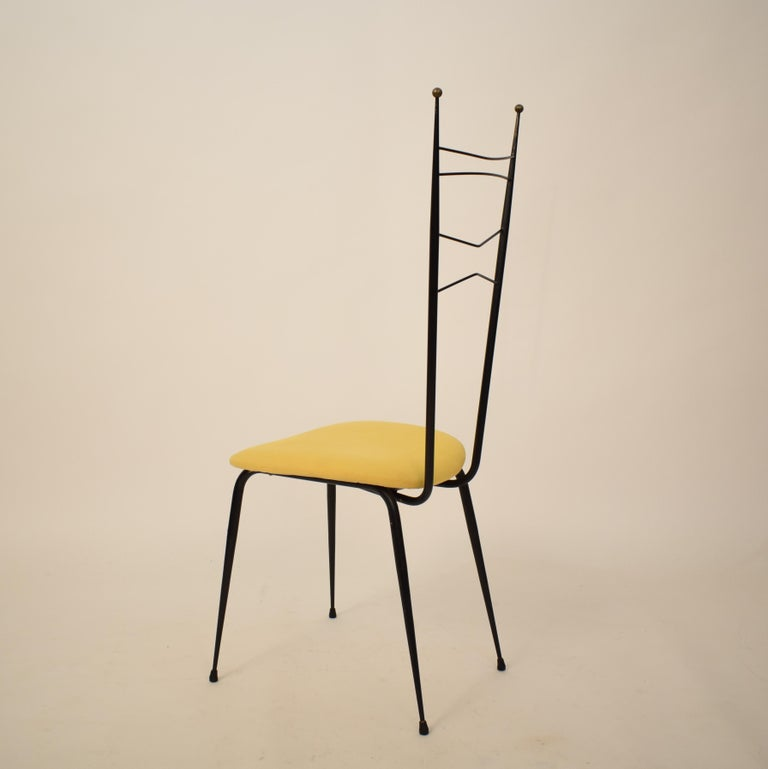 Metal Midcentury Italian Black and Yellow Dining Chairs Attributed to Ico Parisi, 1958 For Sale