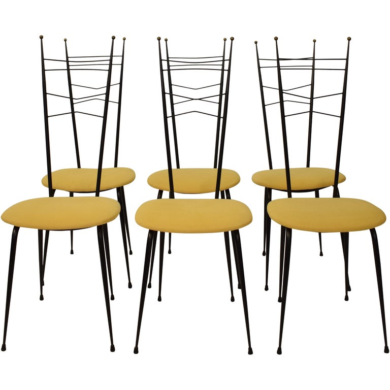 Midcentury Italian Black and Yellow Dining Chairs Attributed to Ico Parisi, 1958 For Sale