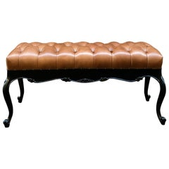 Midcentury Italian Black Lacquered Engraved Wood Tobacco Leather Bench
