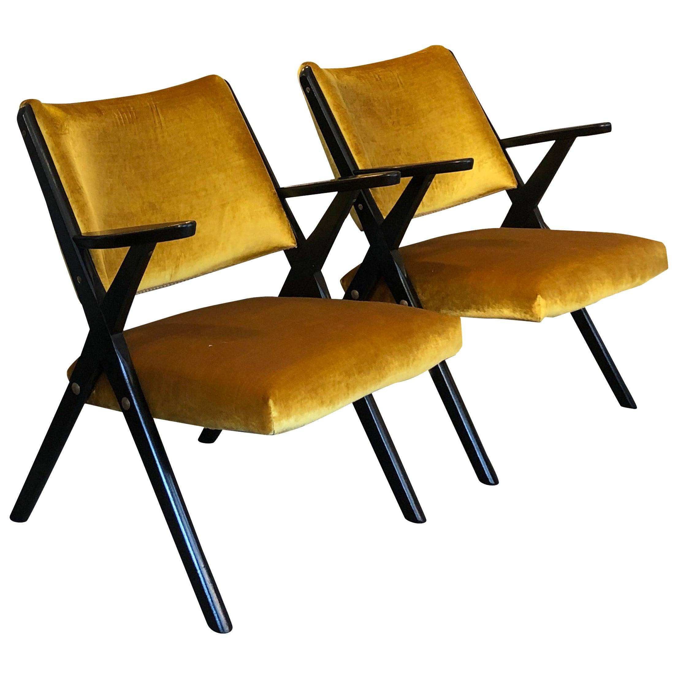 Midcentury Italian Black Lacquered Wood Ochre Velvet Armchairs by Dal Vera