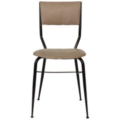 Midcentury Italian Black Metal and Grey Leather Dining Chair, 1950